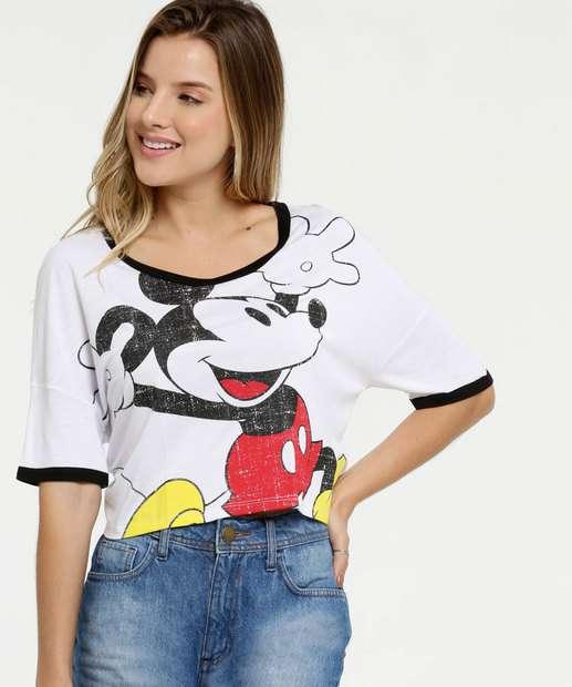 Image_Blusa Feminina Cropped Estampa Mickey Manga Curta Disney
