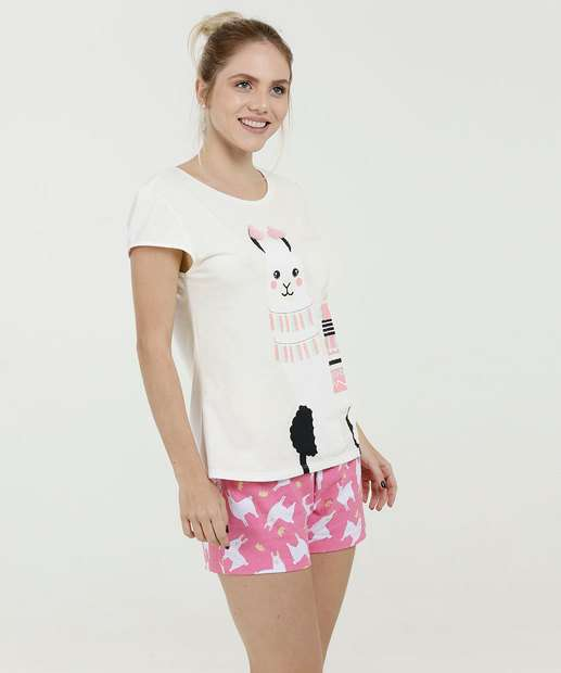 Image_Pijama Feminino Short Doll Estampa Lhama Marisa