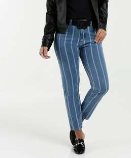 Calça Feminina Jeans Cigarrete Listrada Marisa