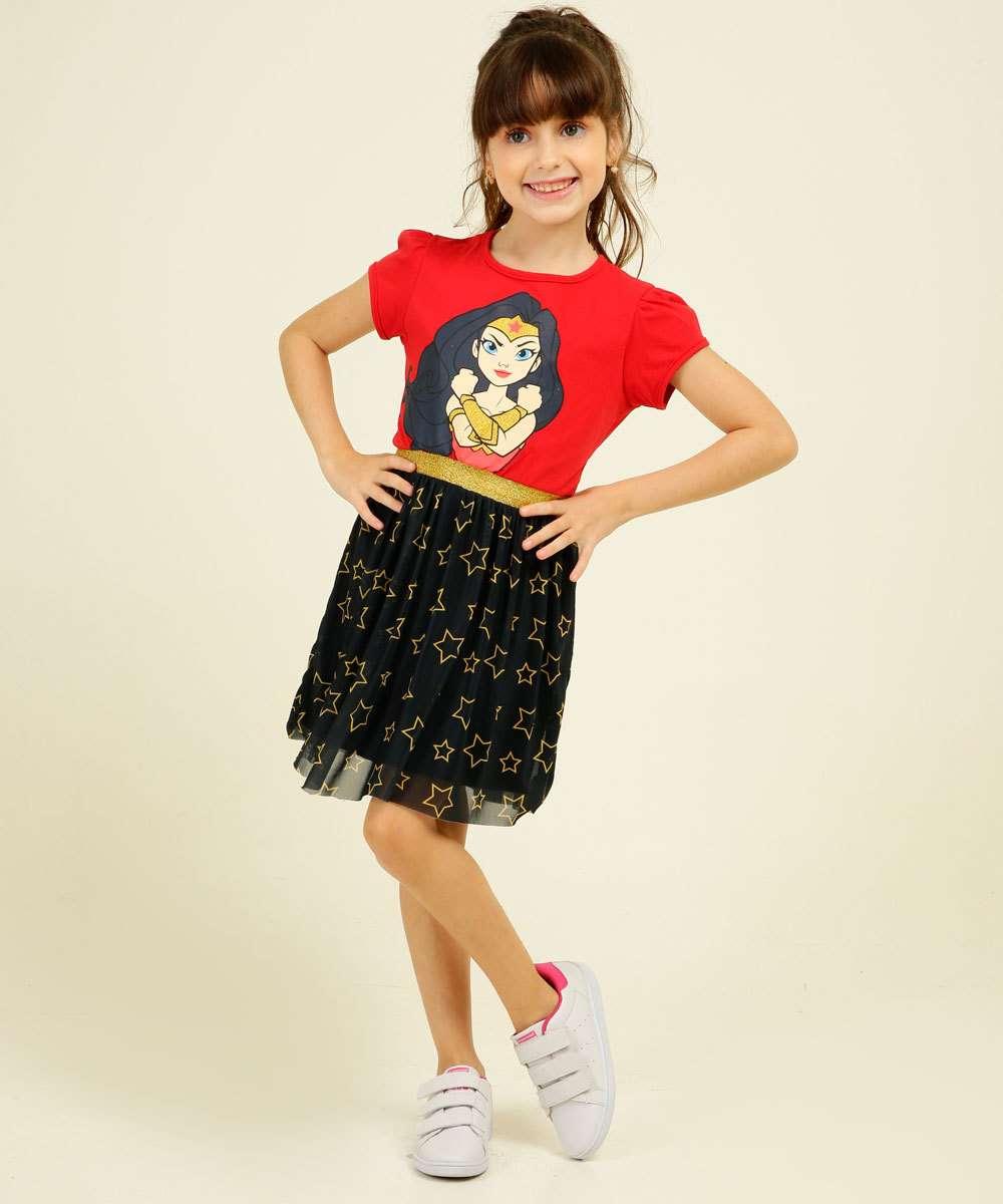 Vestido Infantil Mulher Maravilha Liga da Justiça Tam 4 a 10