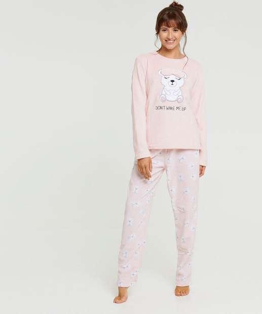 Image_Pijama Feminino Pelúcia Estampa Urso Marisa