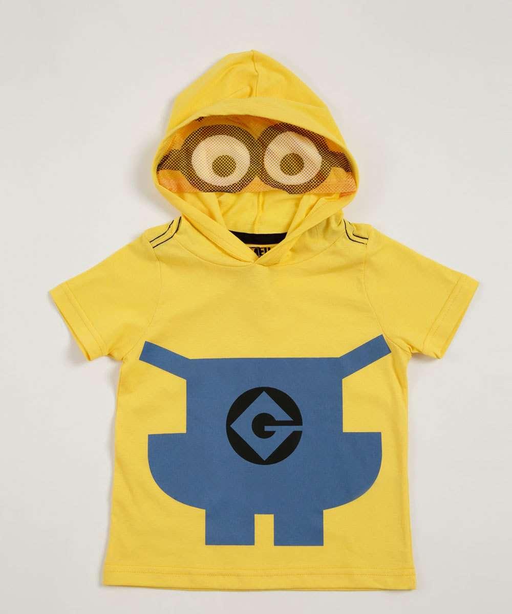 9ef85e1ece811 Camiseta Infantil Estampa Capuz Minions