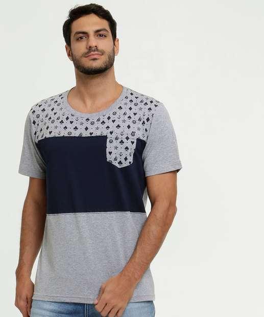Image_Camiseta Masculina Recorte Manga Curta