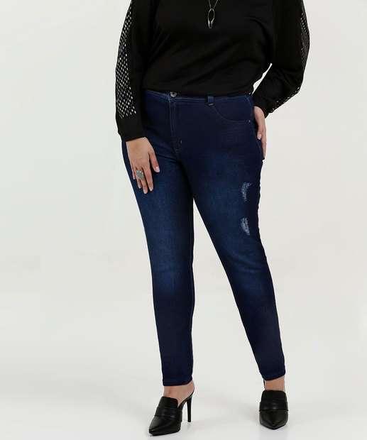 Image_Calça Feminina Jeans Skinny Puídos Plus Size Biotipo