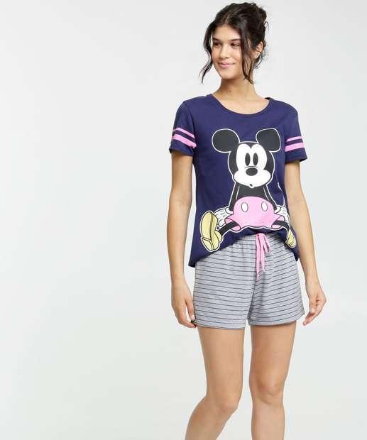 Image_Pijama Feminino Mickey Listrado Manga Curta Disney