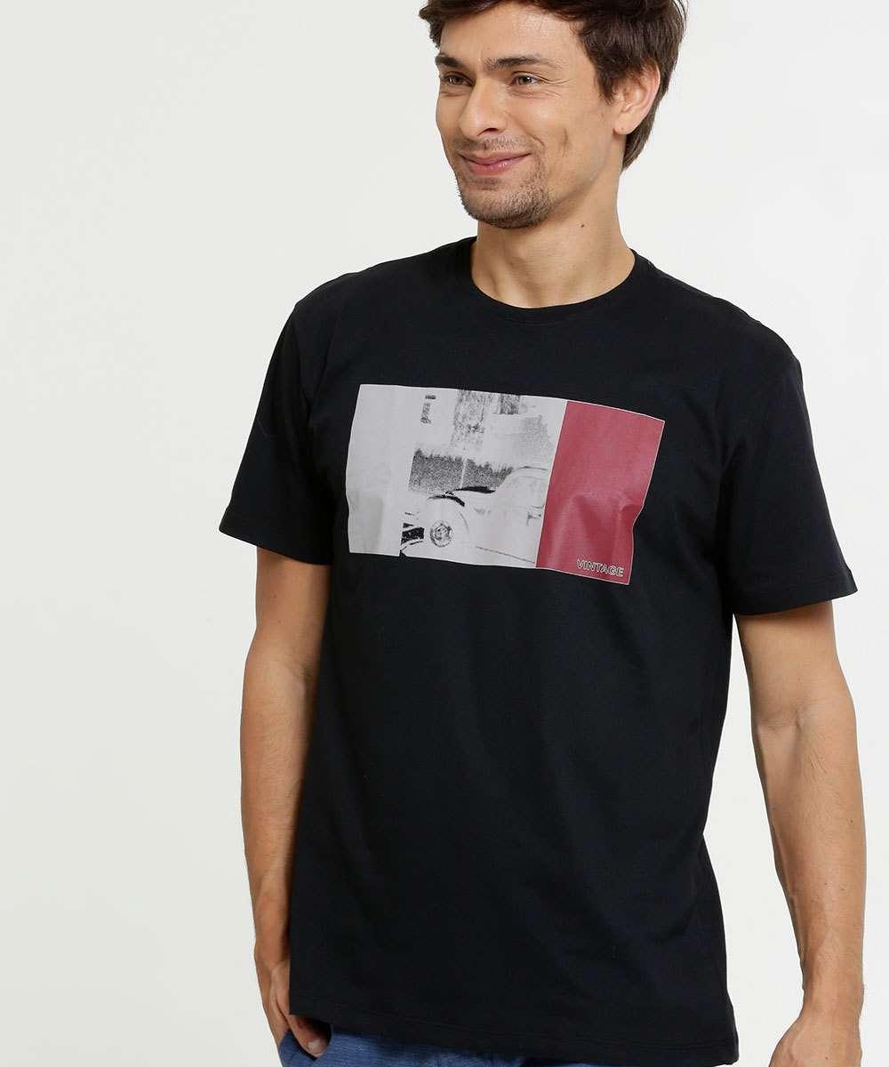 Camiseta Masculina Estampa Frontal Manga Curta