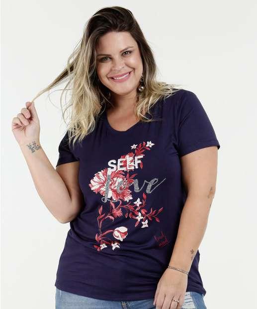 Image_Blusa Feminina Estampa Flores Plus Size Manga Curta Marisa