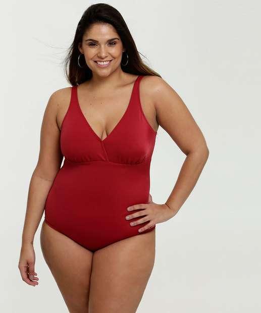 Image_Maiô Feminino Plus Size Proteção UV50 Alças Finas Banho de Mar