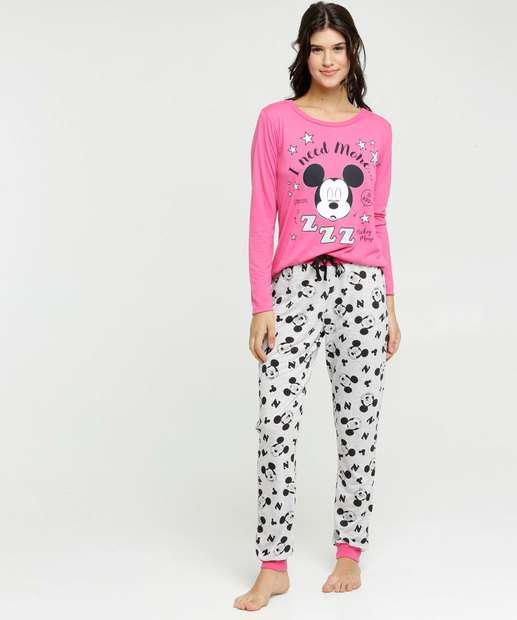 Image_Pijama Feminino Estampa Mickey Manga Longa Disney