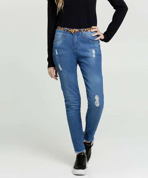 Image_Calça Juvenil Jeans Destroyed Skinny Cinto Marisa