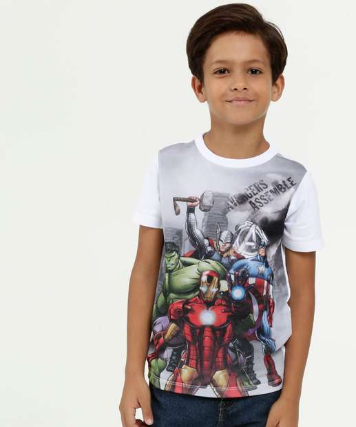 Image_Camiseta Infantil Tela Estampa Vingadores Manga Curta Marvel
