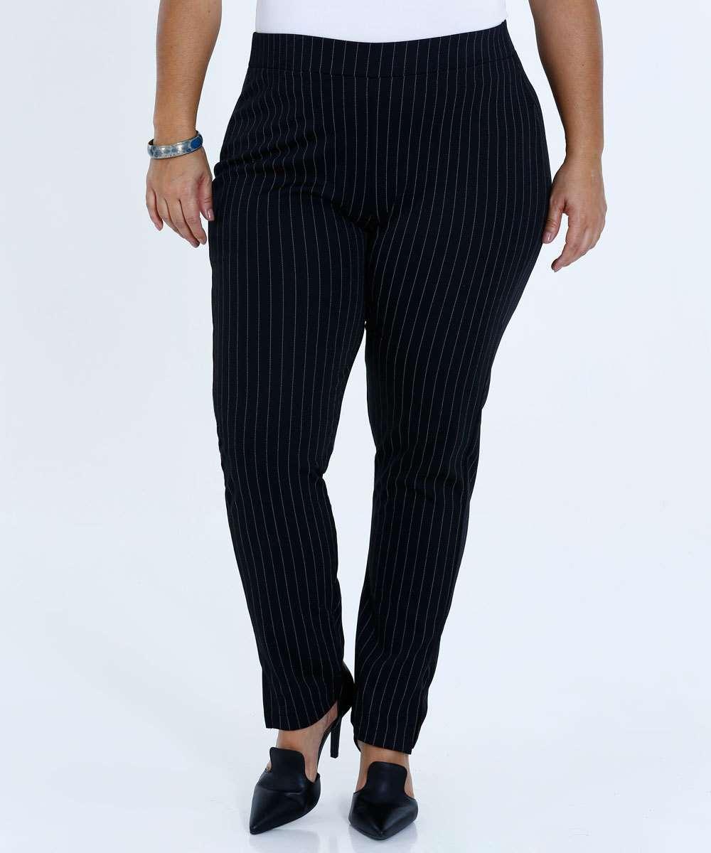 Calça Feminina Social Risca de Giz Plus Size Mariana Xavier
