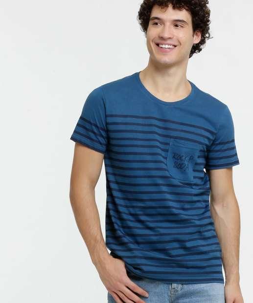 Image_Camiseta Masculina Listrada Bolso Rock & Soda