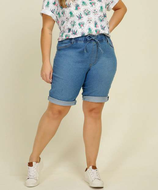 Image_Bermuda Plus Size Feminina Jeans Amarração