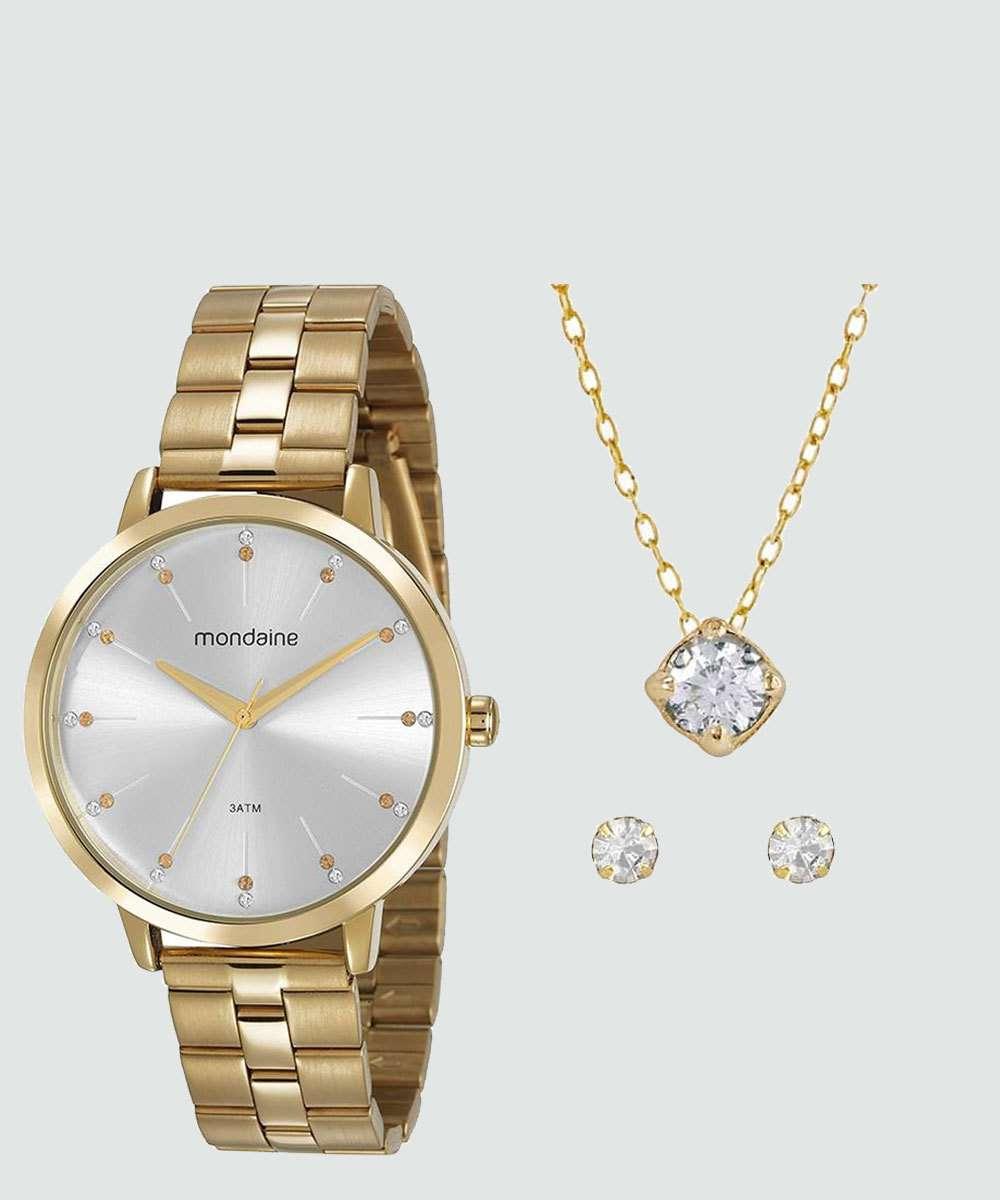 Kit Relógio Feminino Strass Mondaine 53659LPMVDE1KA