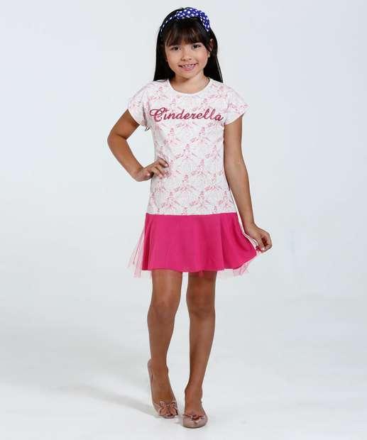 Image_Vestido Infantil Manga Curta Estampa Princesa Cinderela BrilhoTule Disney
