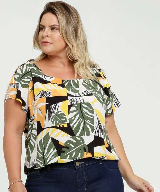 Image_Blusa Feminina Open Shoulder Estampa Tropical Plus Size