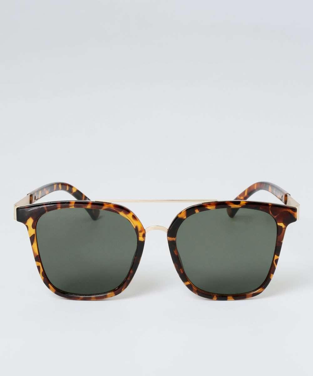 Óculos de Sol Feminino Estampa Animal Print Redondo Marisa