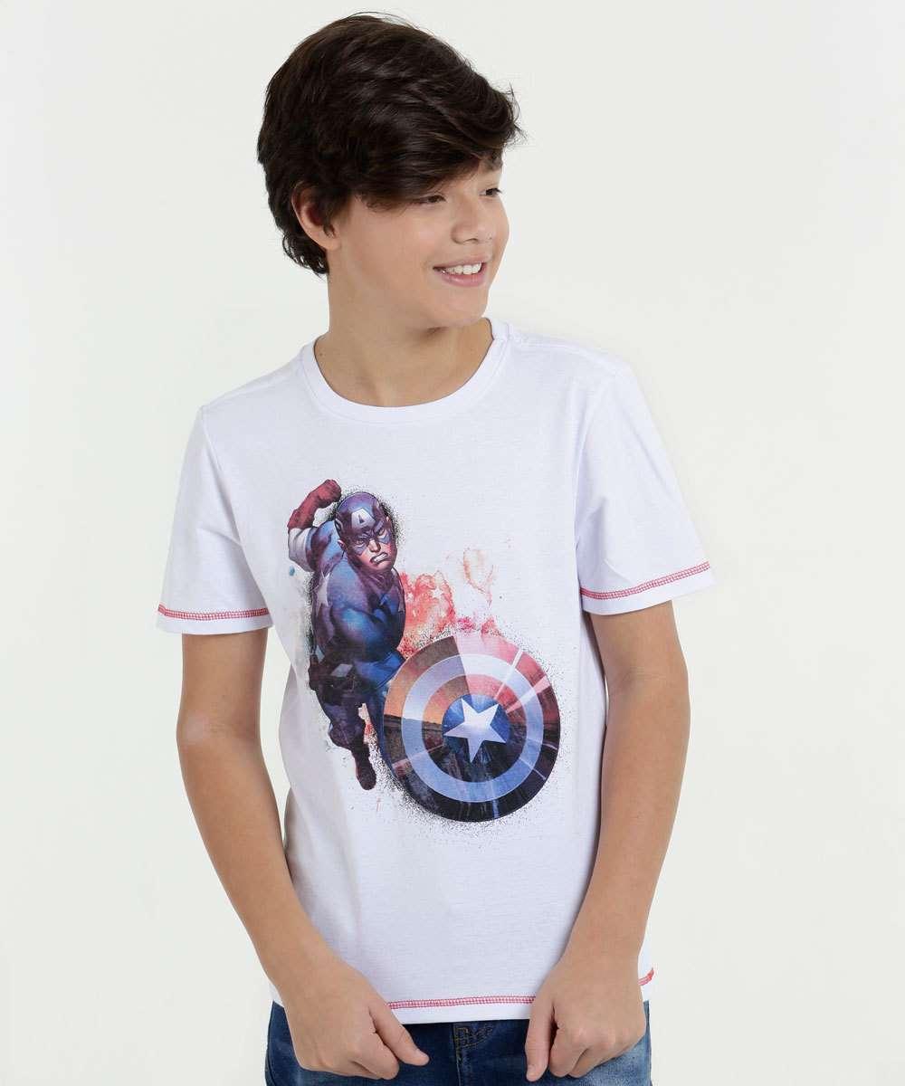 Camiseta Juvenil Capitão América Marvel