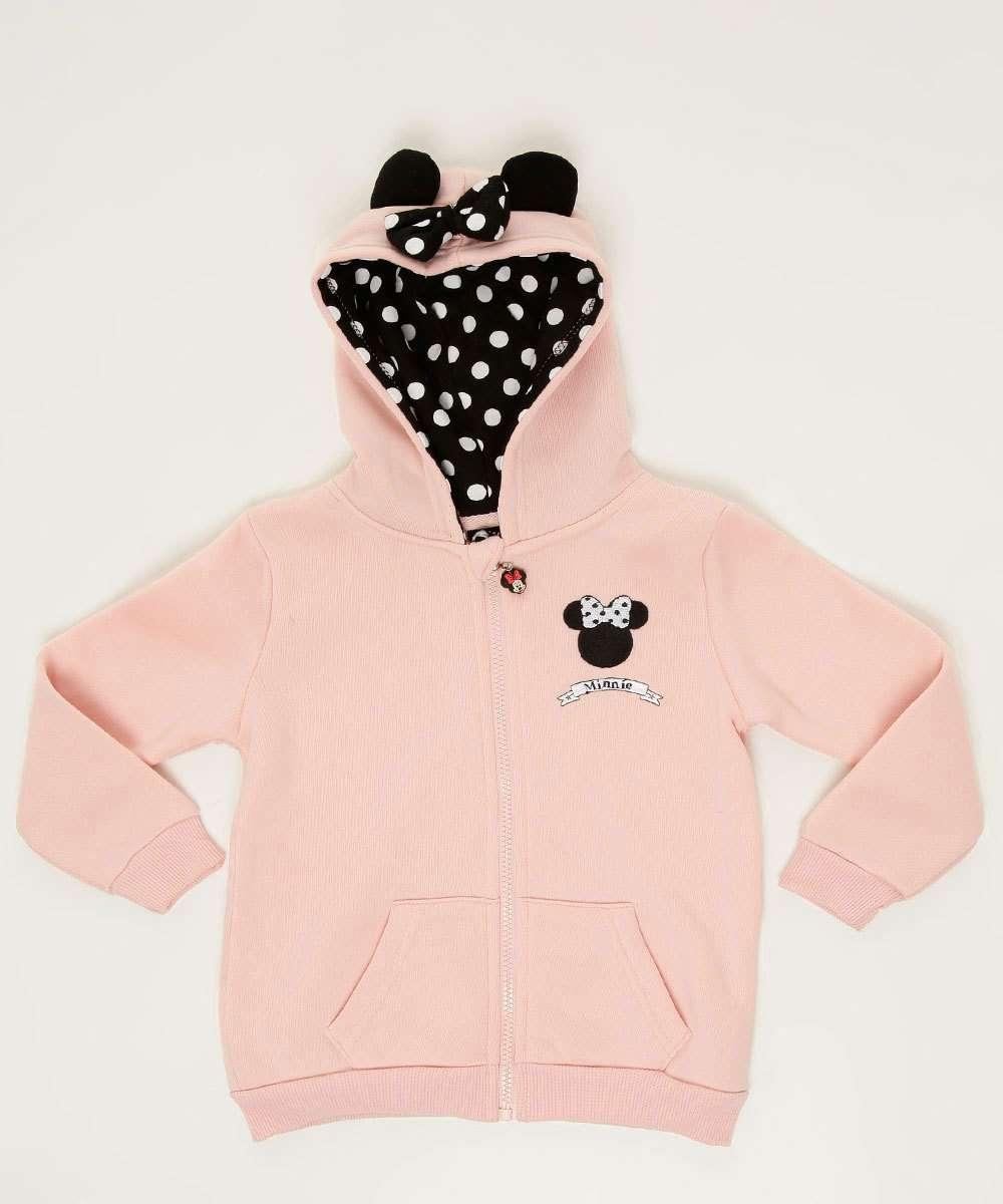 Casaco Infantil Moletom Bordado Minnie Disney