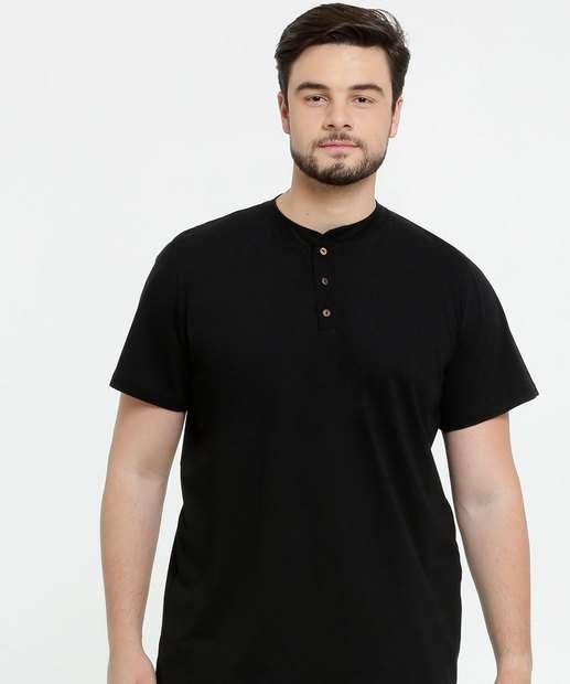 Image_Camiseta Masculina Botões Plus Size Manga Curta