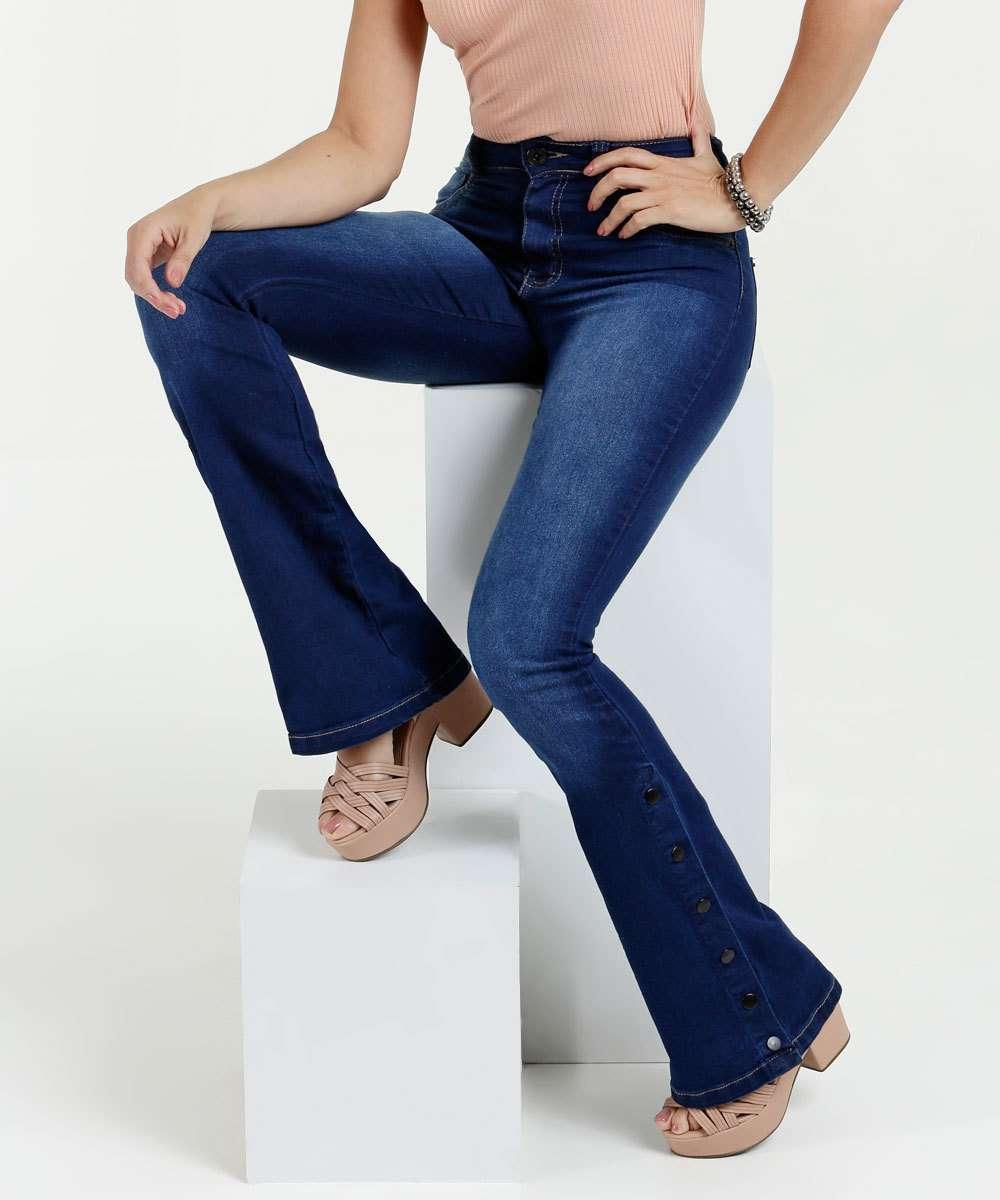 777cc2fc3 Calça Feminina Jeans Stretch Flare Botões Biotipo   Menor preço com ...
