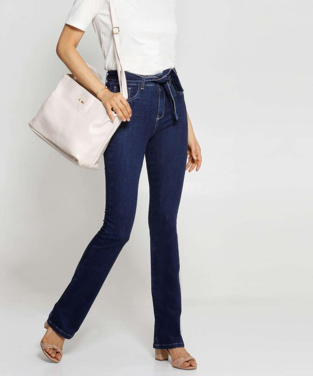 Calça Jeans Boot Cut Feminina Amarração Sawary