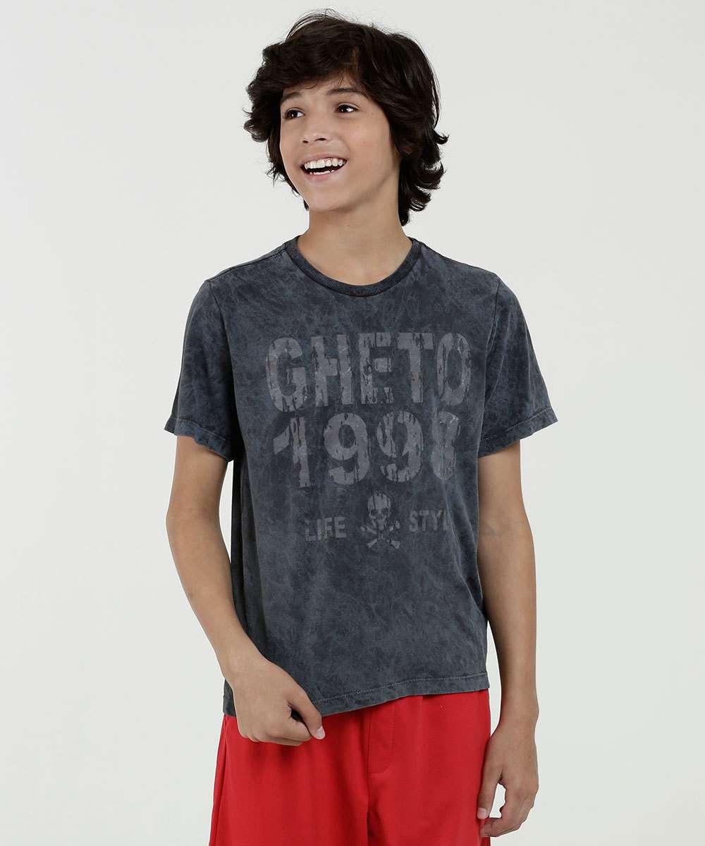 Camiseta Juvenil Estampa Frontal Marmorizada Manga Curta Marisa
