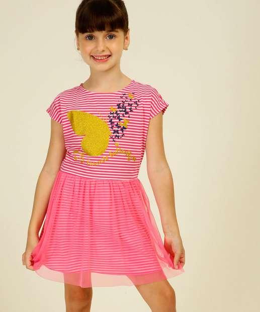 Image_Vestido Infantil Estampa Borboletas Tam 4 a 10
