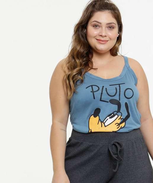 Image_Blusa Plus Size Feminina Pluto Alças Finas Disney