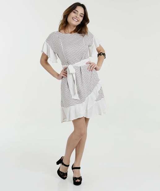 Image_Vestido Feminino Estampa Bolinhas Manga Curta Gups