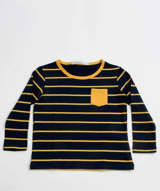 Image_Camiseta Infantil Listrada Bolso Manga Longa