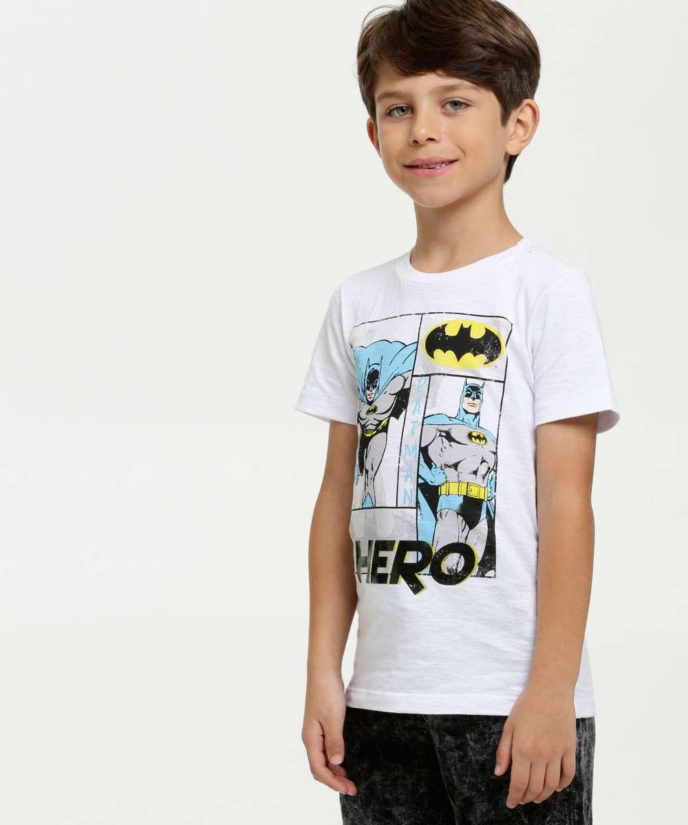 Camiseta Infantil Estampa Batman Manga Curta Liga da Justiça