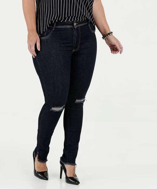 Image_Calça Feminina Jeans Skinny Destroyed Plus Size Sawary