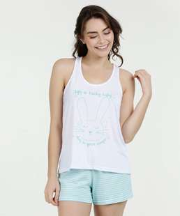Pijama Feminino Short Doll Nadador Estampado Marisa
