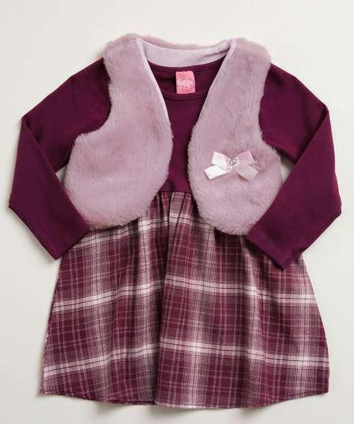 Image_Conjunto Infantil Vestido Colete Estampa Xadrez