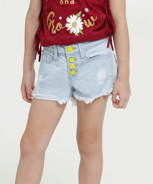 Image_Short Infantil Jeans Barra Desfiada Neon Marisa