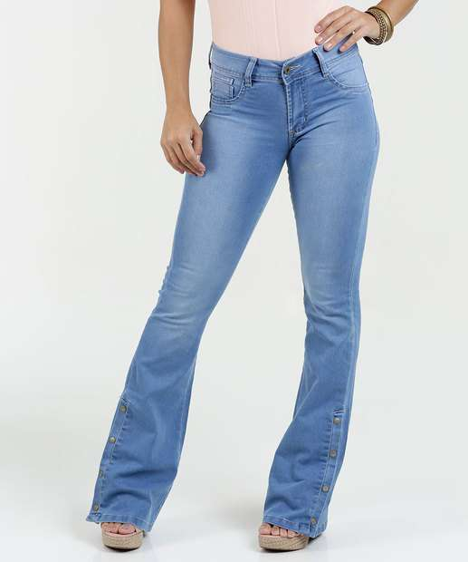 Image_Calça Feminina Jeans Flare Botões Sawary