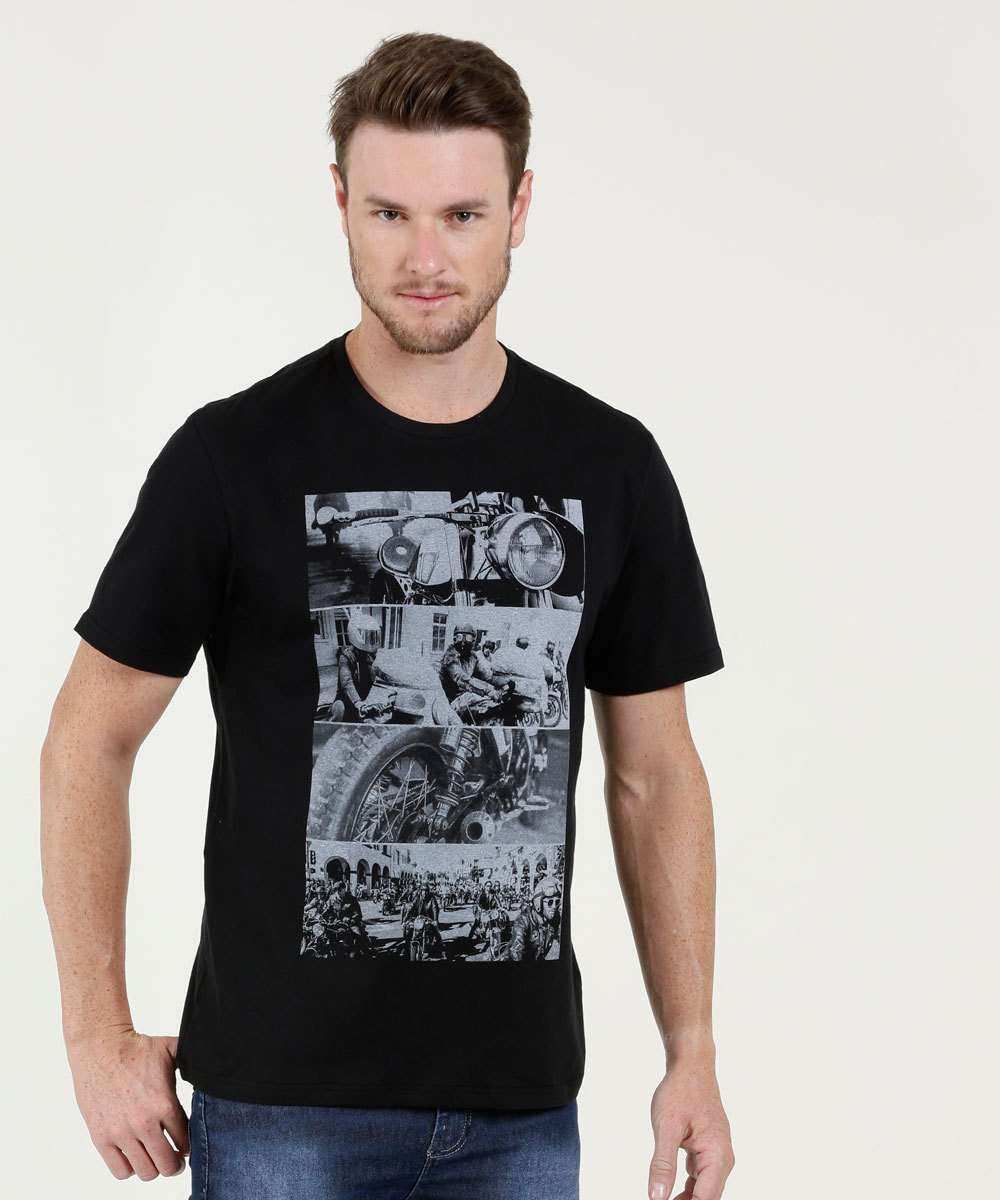 Camiseta Masculina Estampa Frontal Manga Curta MR
