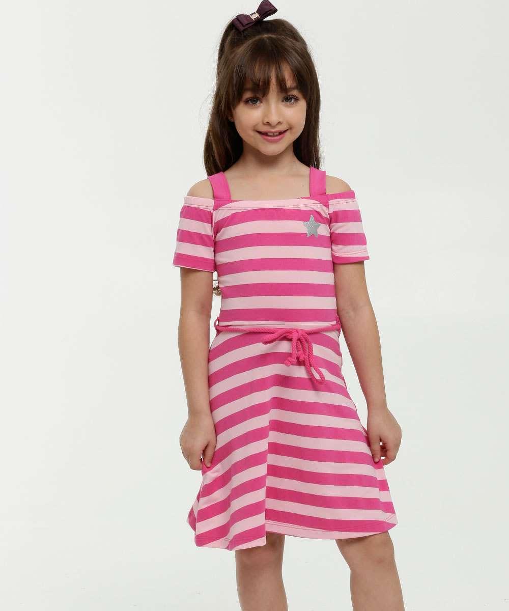 Vestido Infantil Listrado Open Shoulder