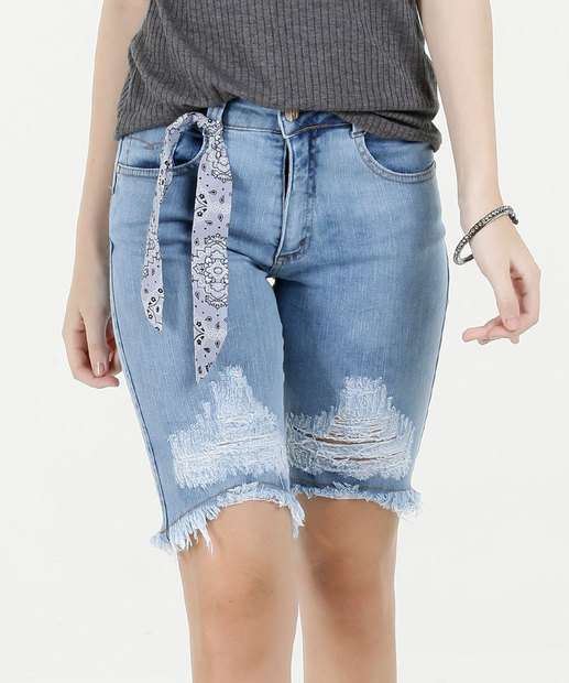 Image_Bermuda Feminina Jeans Destroyed Cintura Média Biotipo