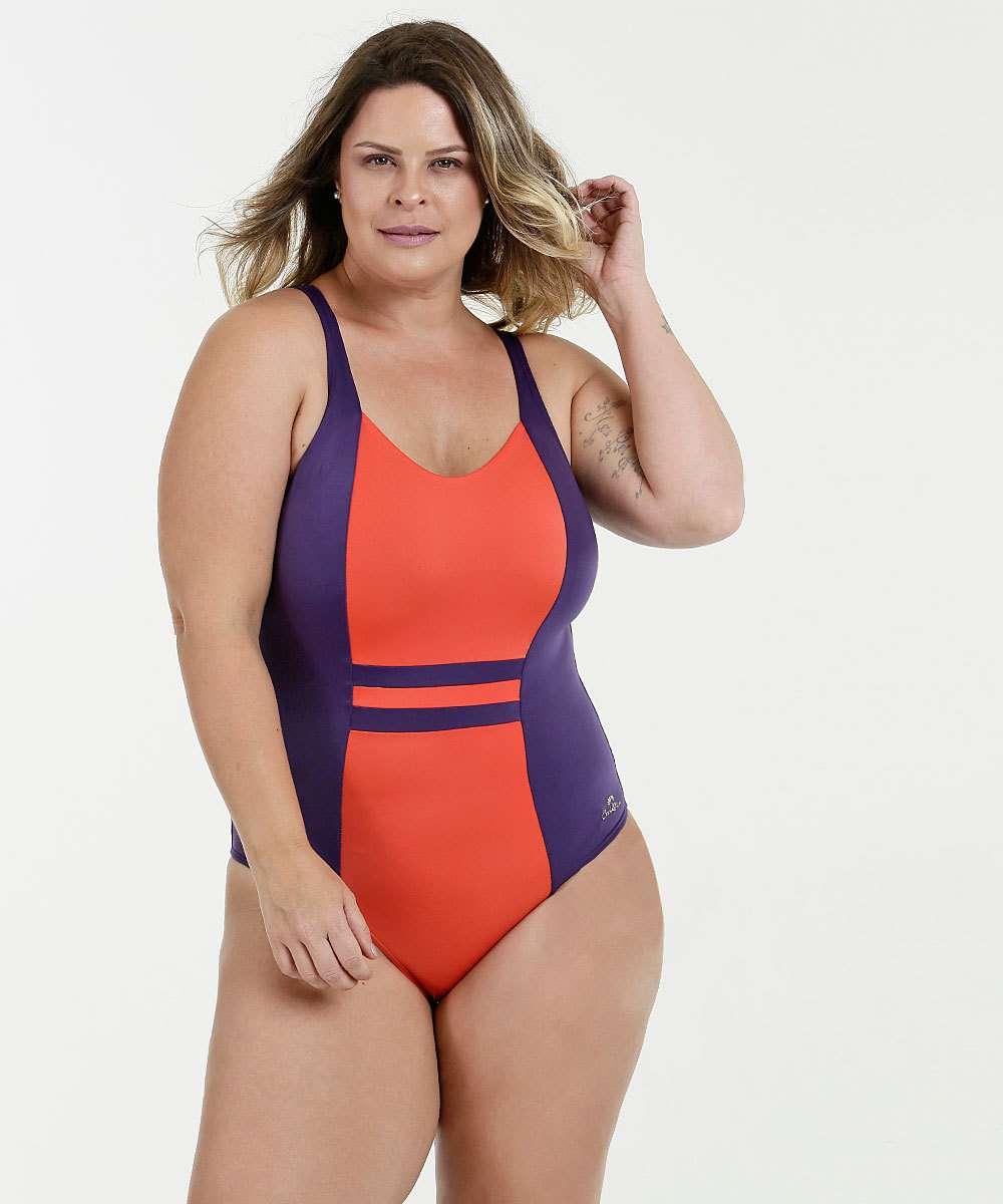 Maiô Feminino Recortes Plus Size Banho de Mar