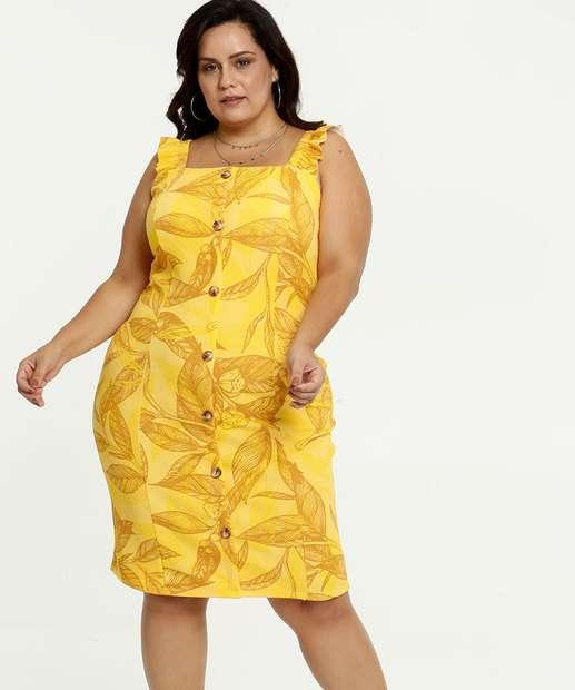 Image_Vestido Feminino Estampa Tropical Alças Finas Plus Size