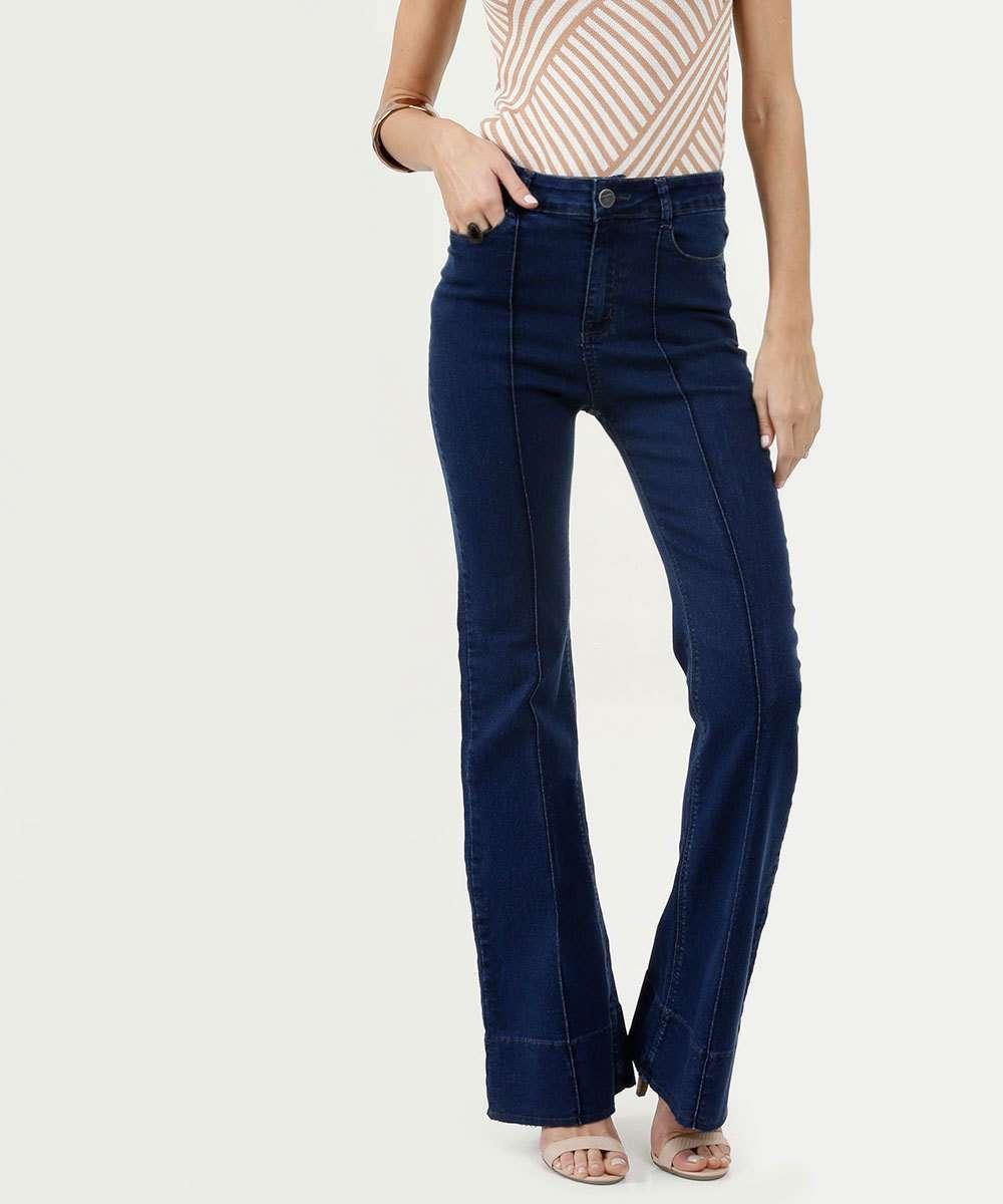 Calça Feminina Jeans Flare Stretch Marisa