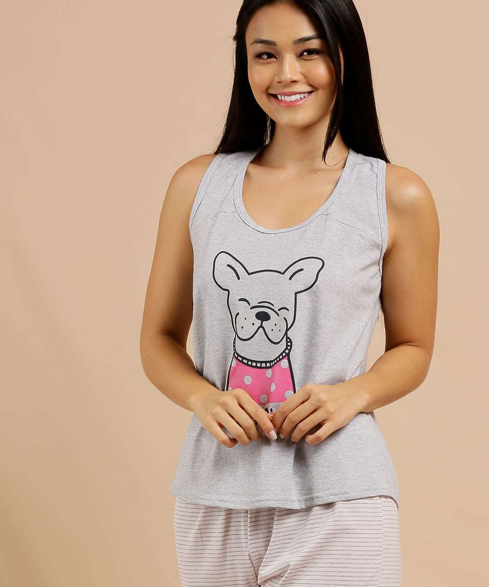 Pijama Feminino Estampado Sem Manga Marisa