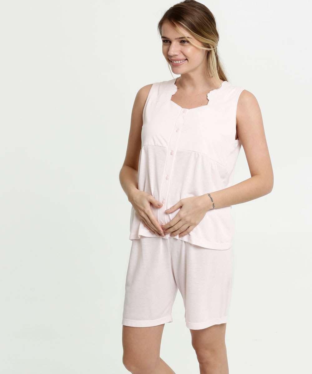 Pijama Feminino Bordado Sem Manga Marisa