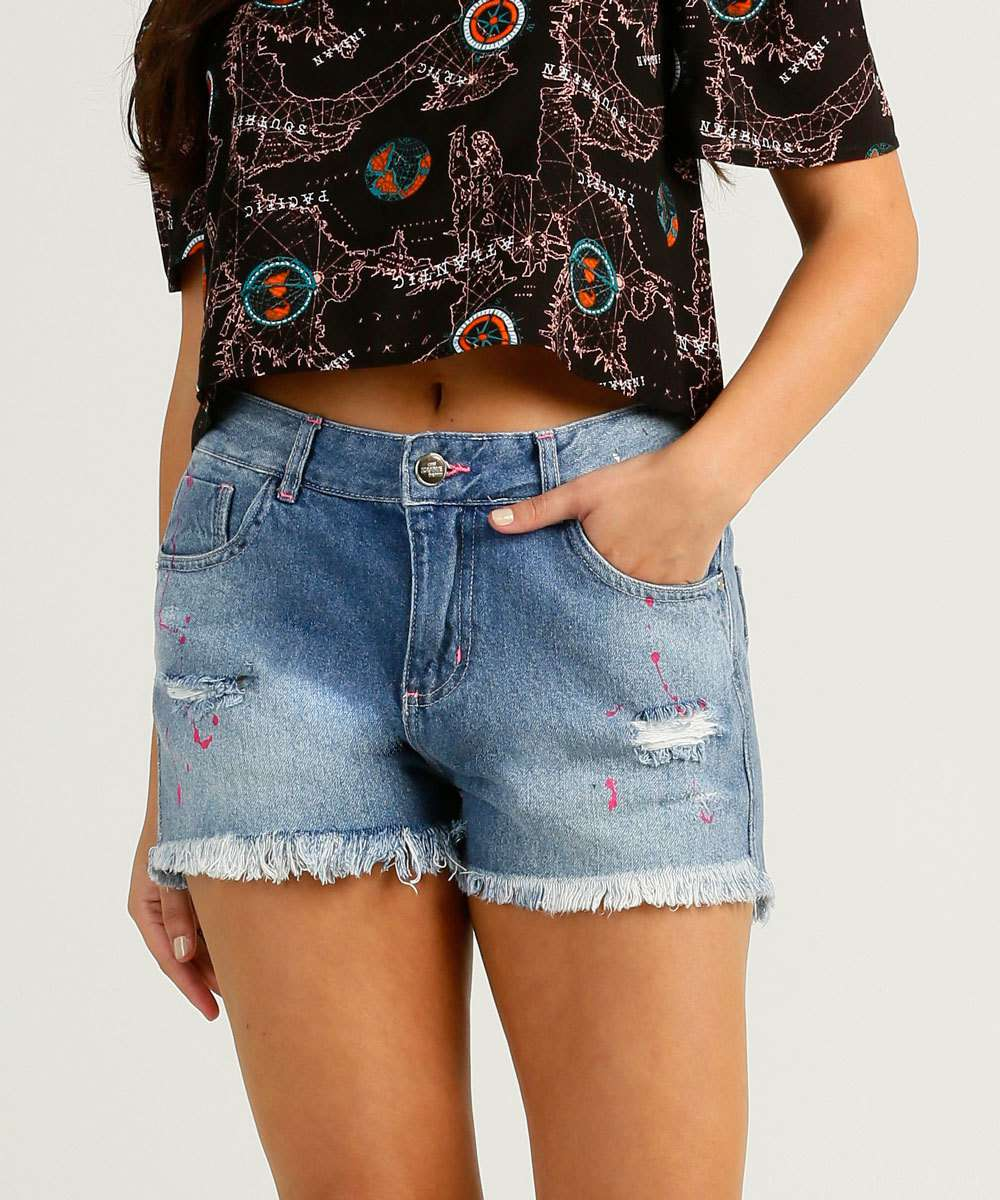 Short Feminino Destroyed Estampado Zune Jeans