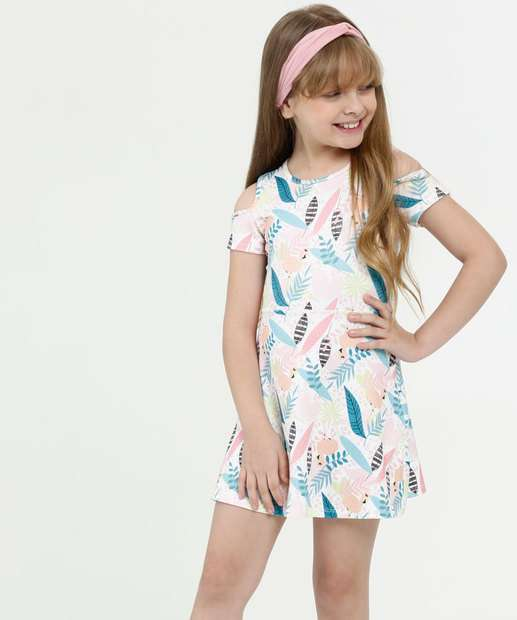 Image_Vestido Infantil Open Shoulder Estampa Tropical Marisa