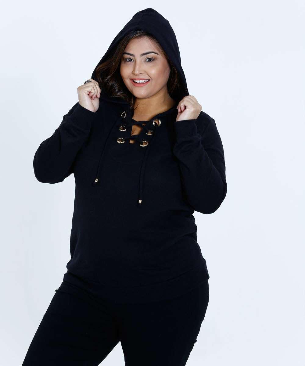 ae82c96d6 Blusa Feminino Moletom Capuz Plus Size Marisa