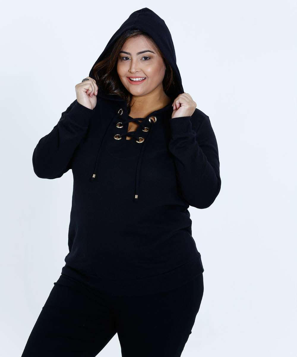 51abf0db780a Blusa Feminino Moletom Capuz Plus Size Marisa | Marisa